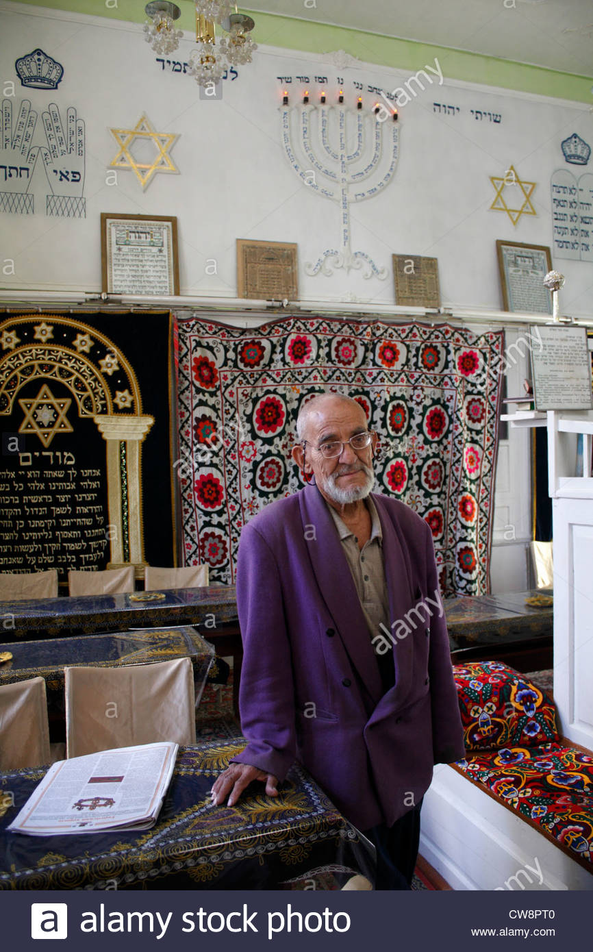 The caretaker of the Jewish Synagogue, located near the Lyab-i-Hauz complex of mosques and madrassahs, in Bukhara, - Stock Image