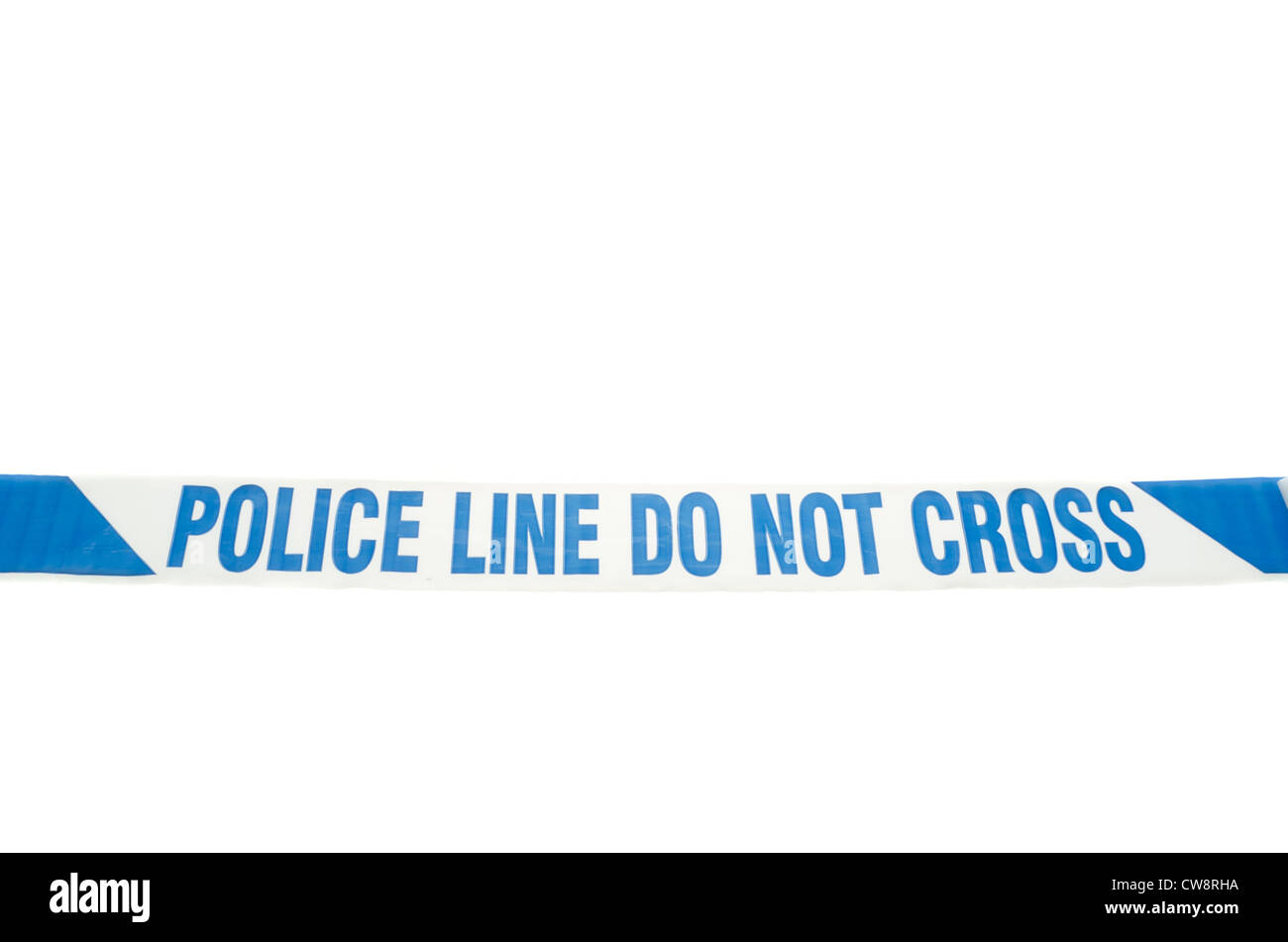 'Police line do not cross' tape stretched over a white background. - Stock Image