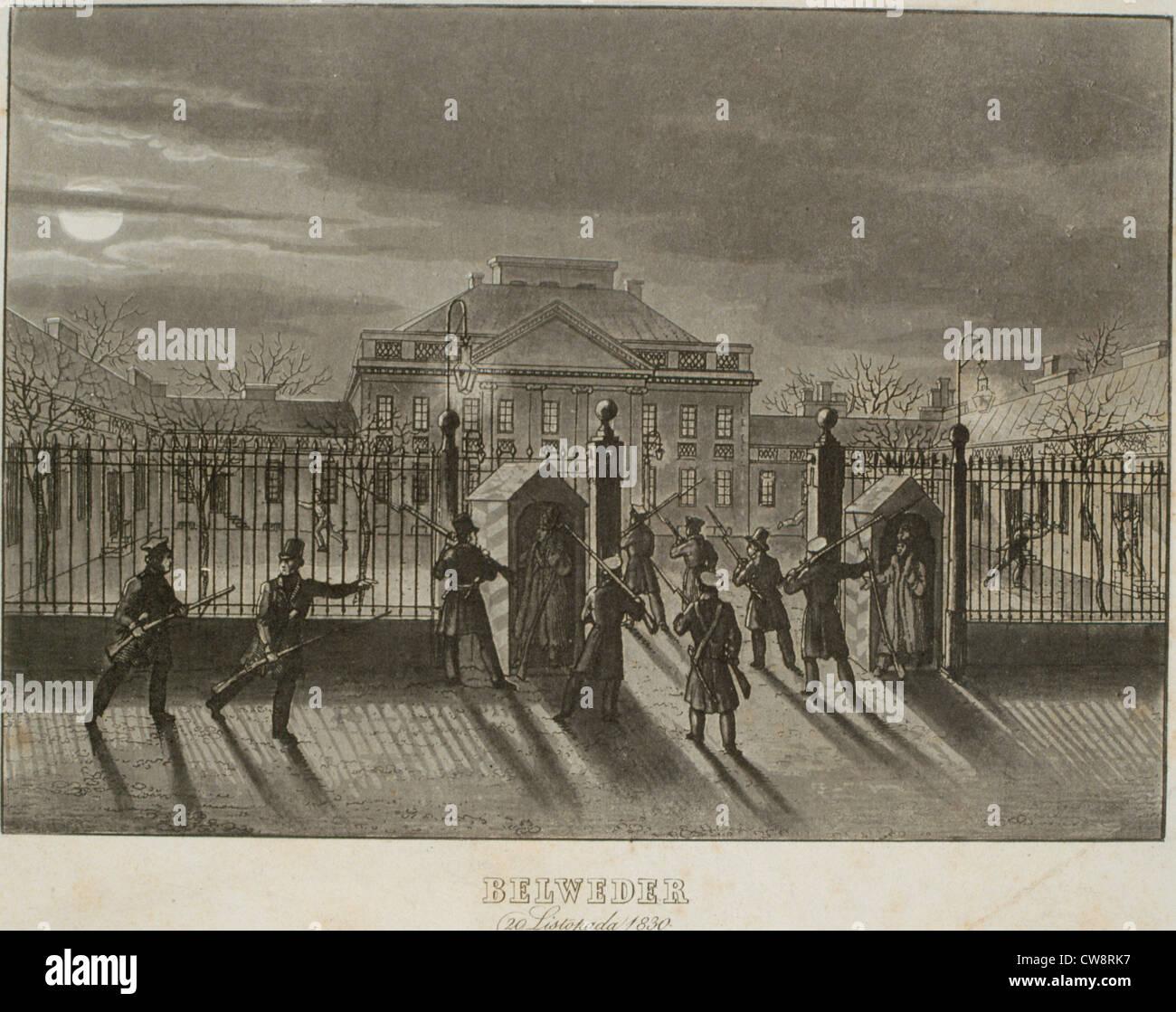 Insurgents taking the belvedere engraving Piwaski Stock Photo