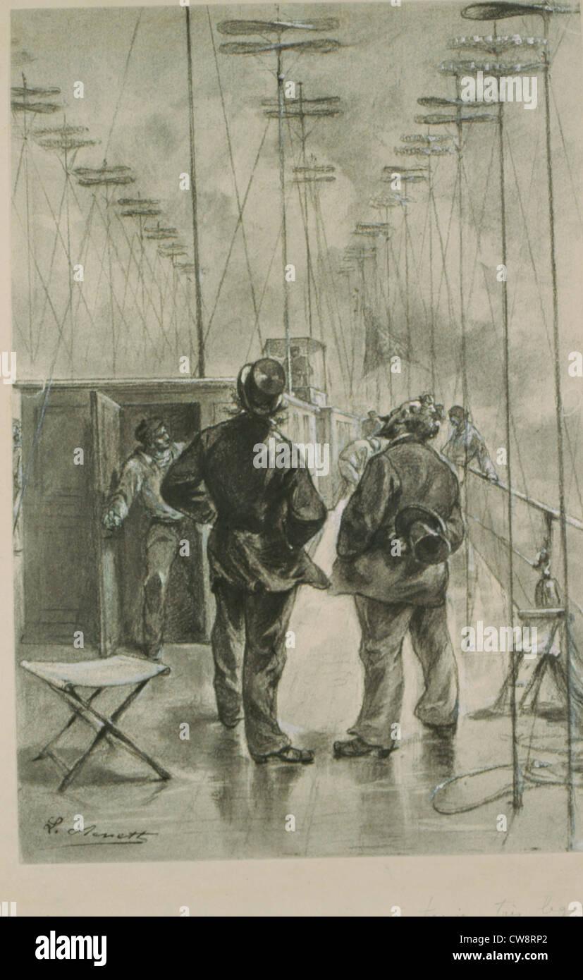 Robur Conqueror Jules Verne original drawing Benett - Stock Image