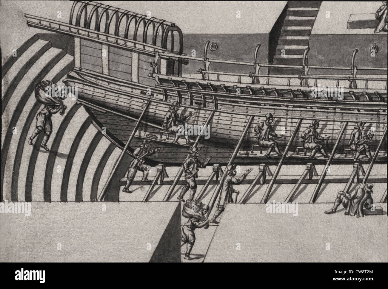 Geometric description all parts included in construction galley engraving Debenat - Stock Image