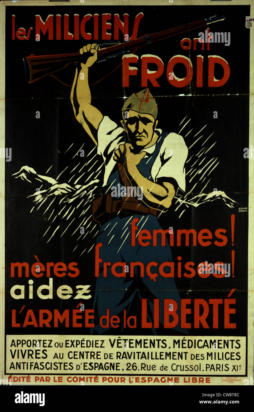 Propaganda poster during civil war militia - Stock Image