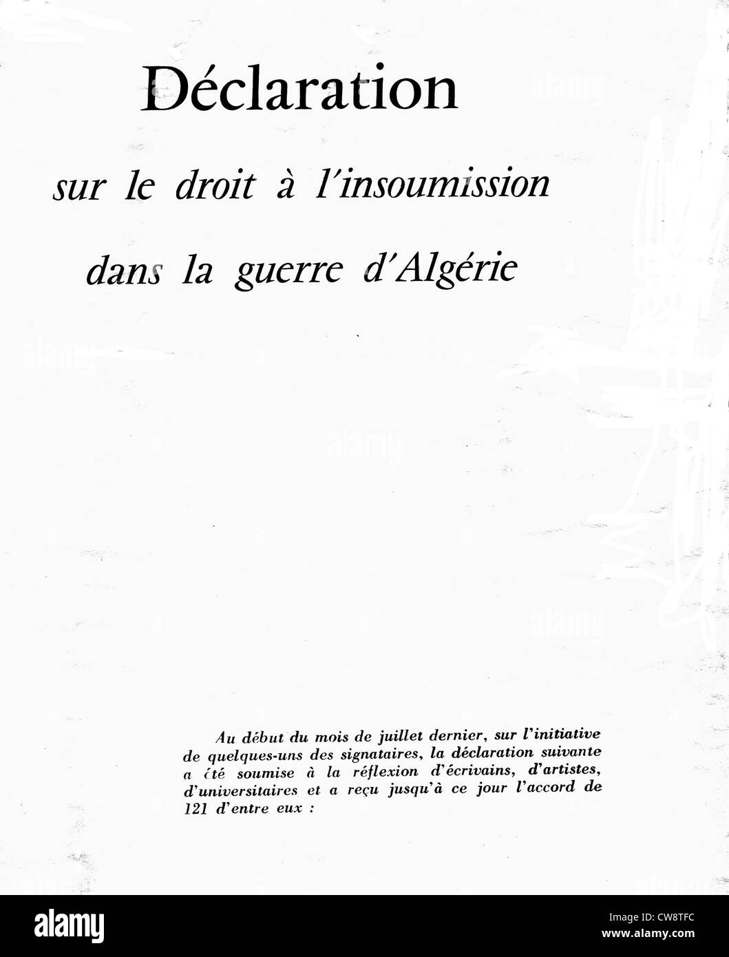 Declaration on right insubordination during Algerian War - Stock Image
