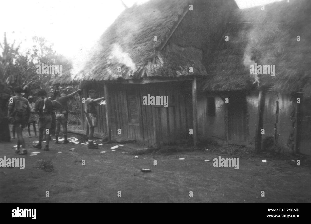 Repression - villages burned by the army - Stock Image