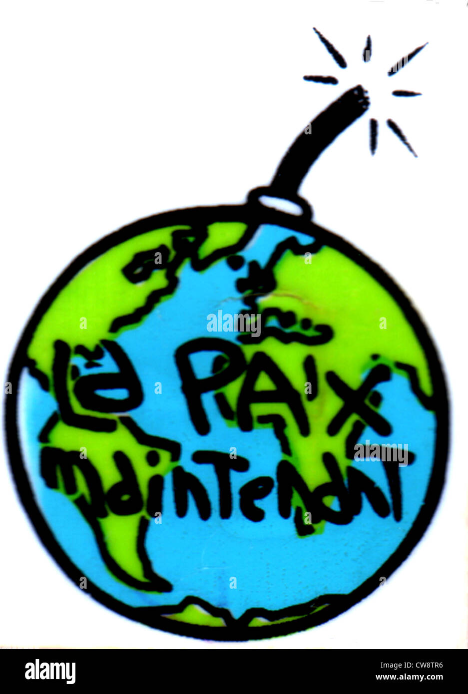 Badge sold during Gulf War : 'La paix maintenant' (Peace now) - Stock Image