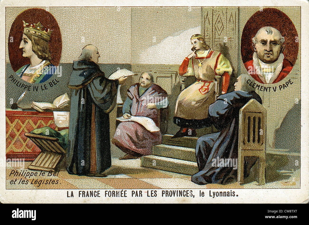 Colored lithograph : France formed provinces - Stock Image