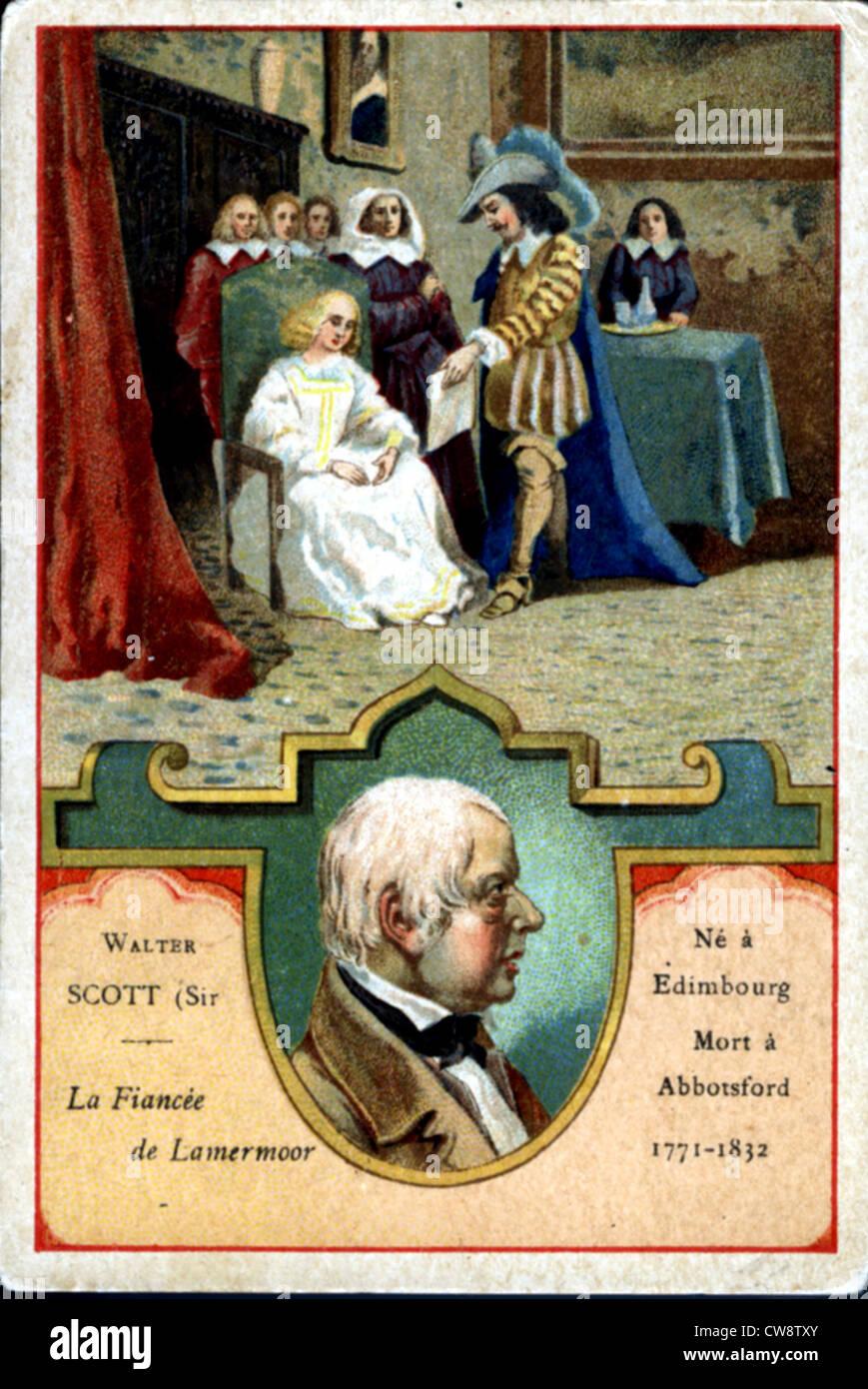 Colored lithograph : Walter Scott : Bride Lammermoor - Stock Image