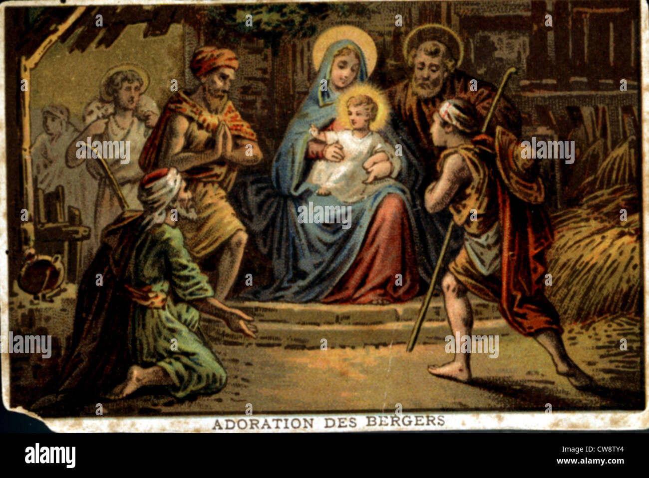 Colored lithograph: Nativity - Adoration Shepherds - Stock Image