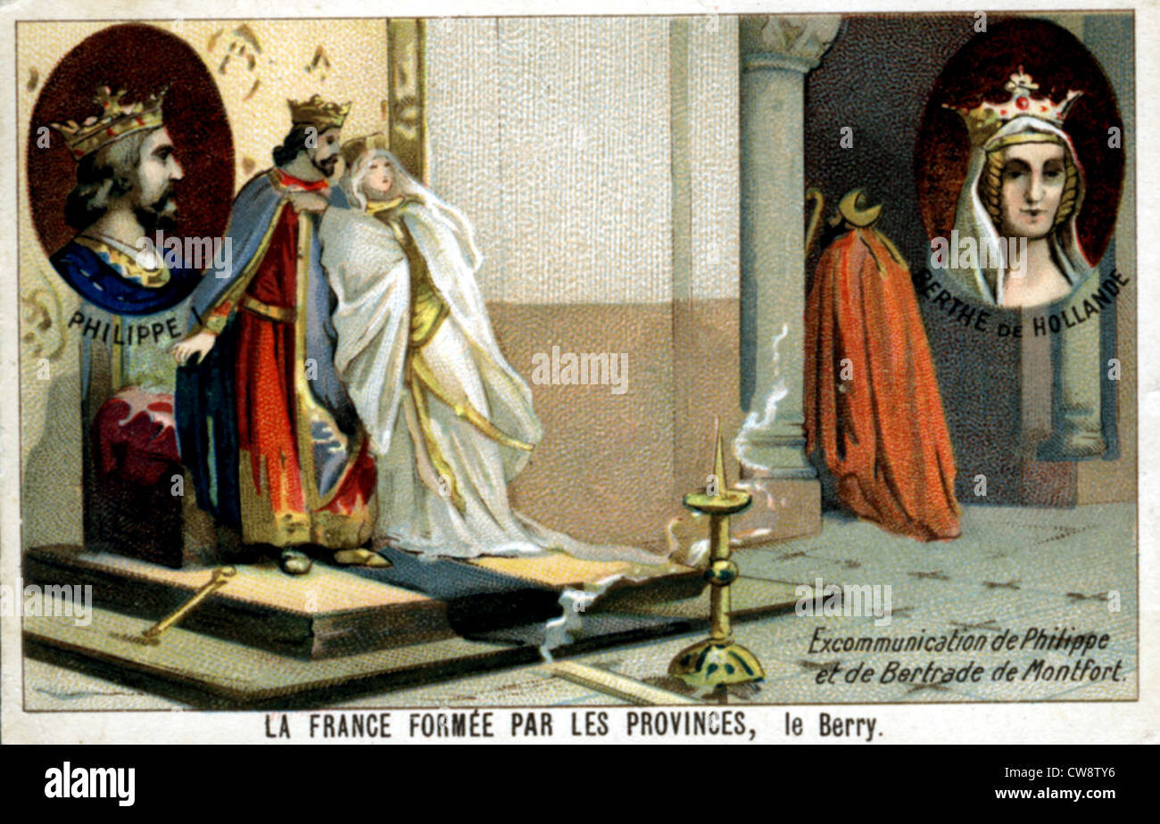 Colored lithograph: France formed provinces: Berry - Stock Image