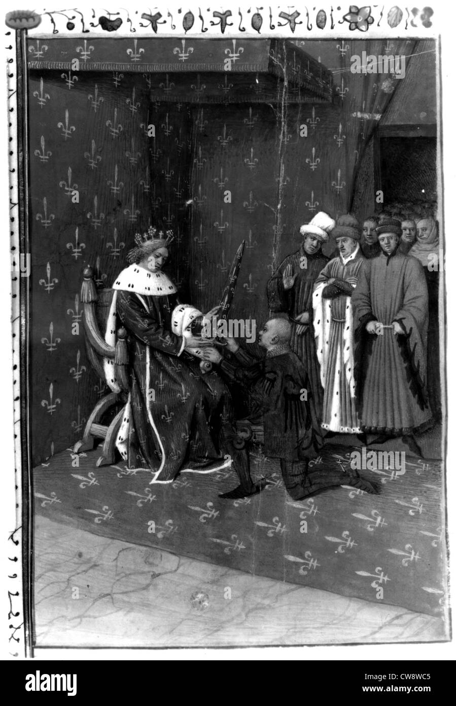 Charles 5th Wise bestows sword constable upon Bertrand Du Guesclin - Stock Image
