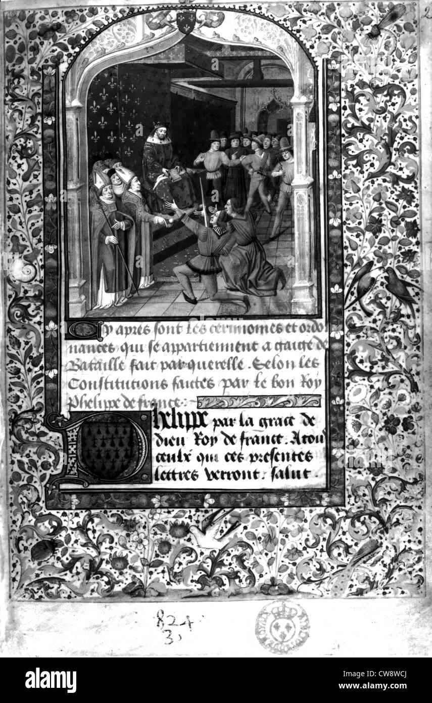Fouquet (?) Les Cérémonies et ordonnances qui appartiennent à gages des batailles - Stock Image