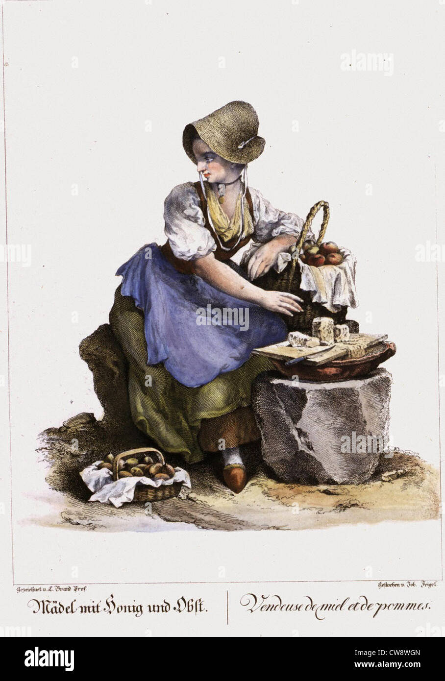 Street trades in Vienna in 18th century fruit cheese vendor - Stock Image