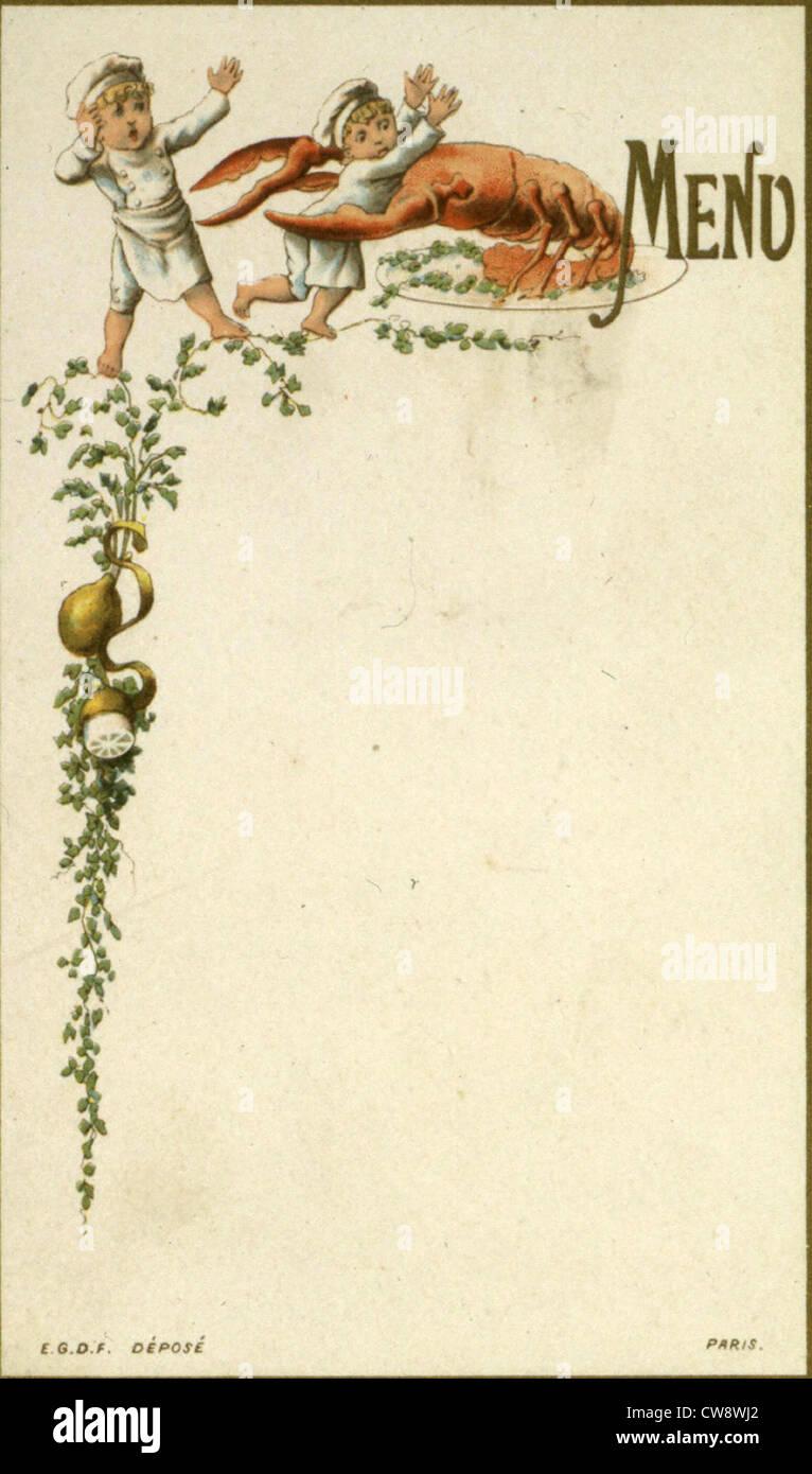 Menus depicting little kitchen helpers - Stock Image