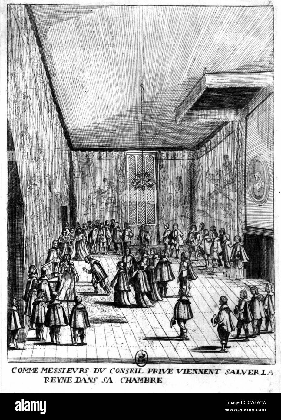 As Gentlemen private counsel come to greet Queen in her room (underLouis XIII) - Stock Image