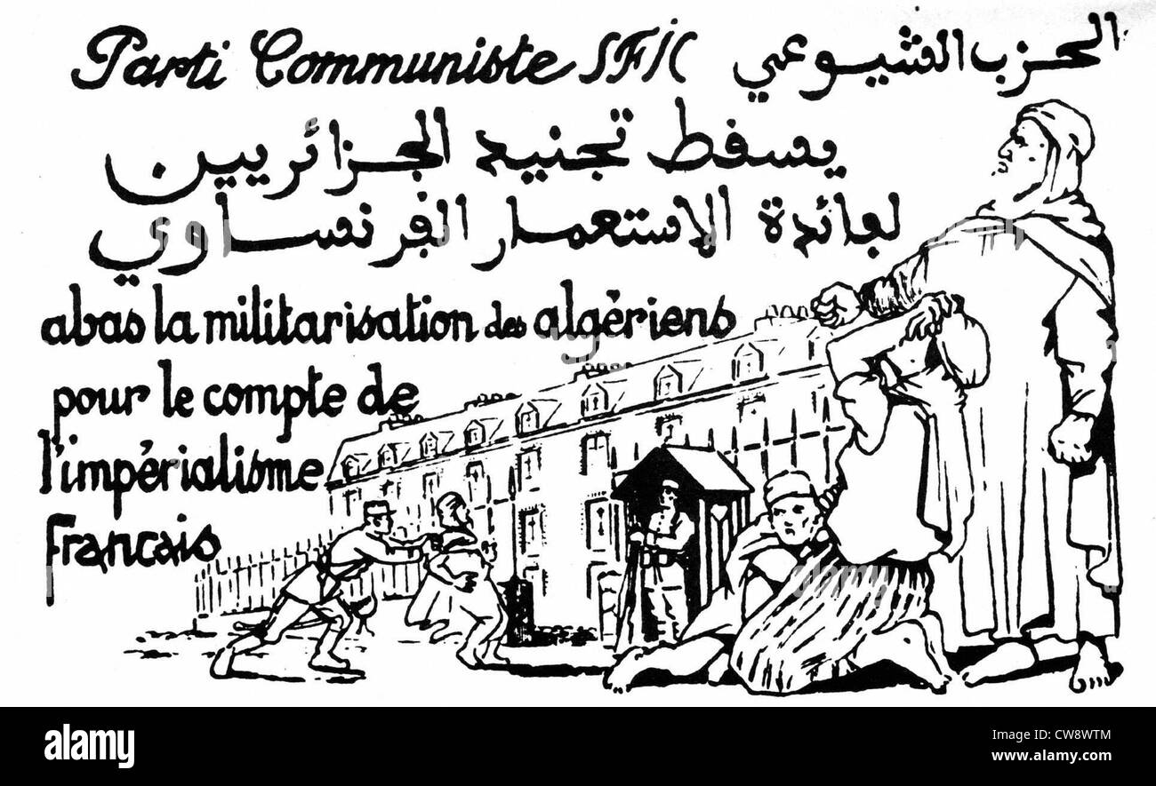 French Communist Party flyer against militarizing Algerians - reverse side - Stock Image