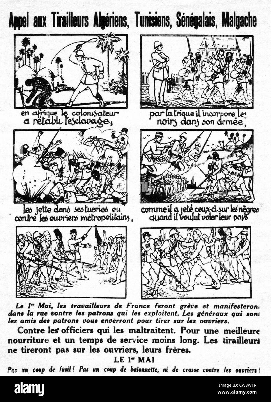Flyer - 'An appeal to Algerian Tunisian Senegalese Malgache fighters' - Stock Image