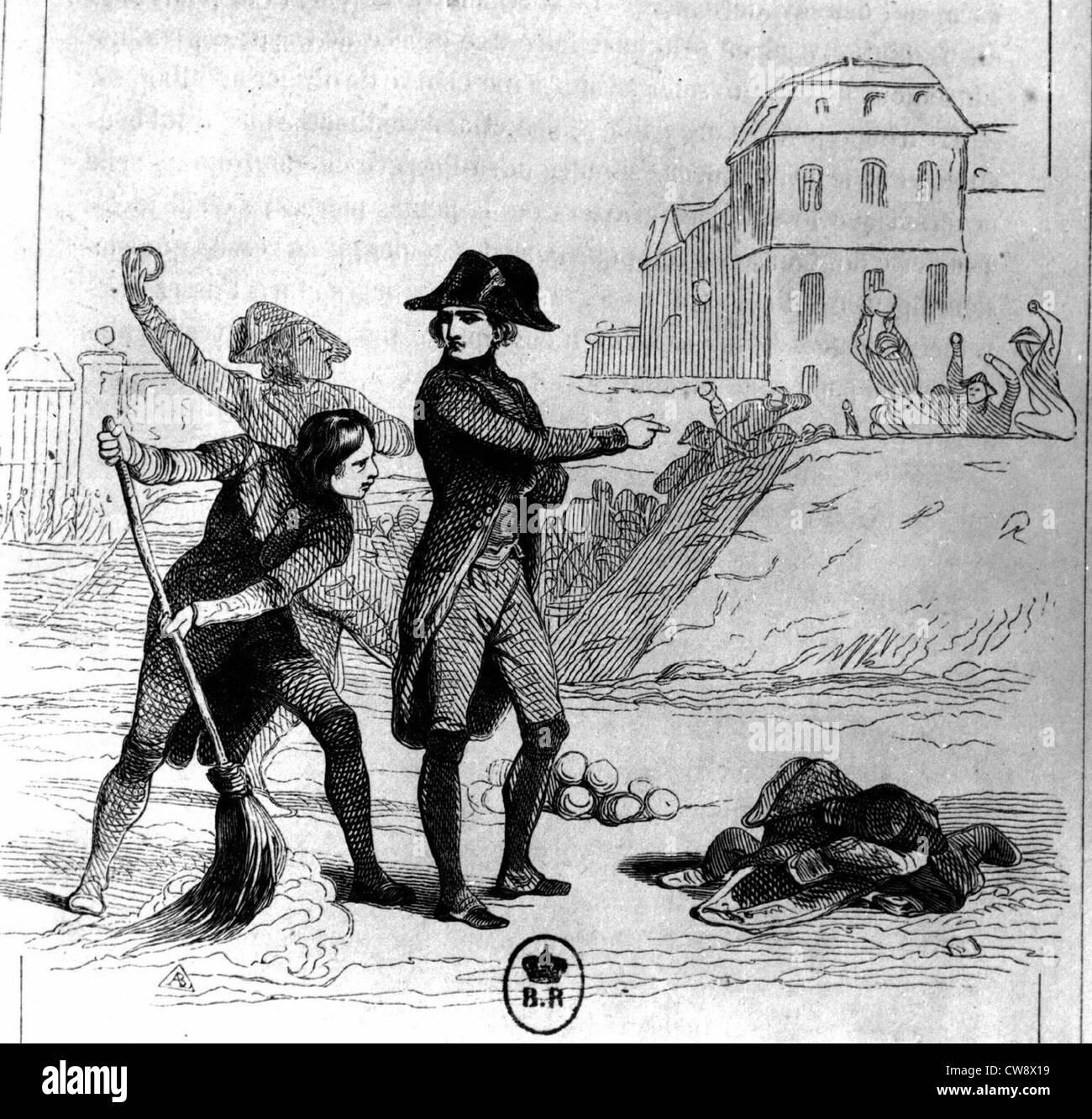 Horace Vernet - Napoleon 1st driving back Prussians at Brienne-le-Château - Stock Image
