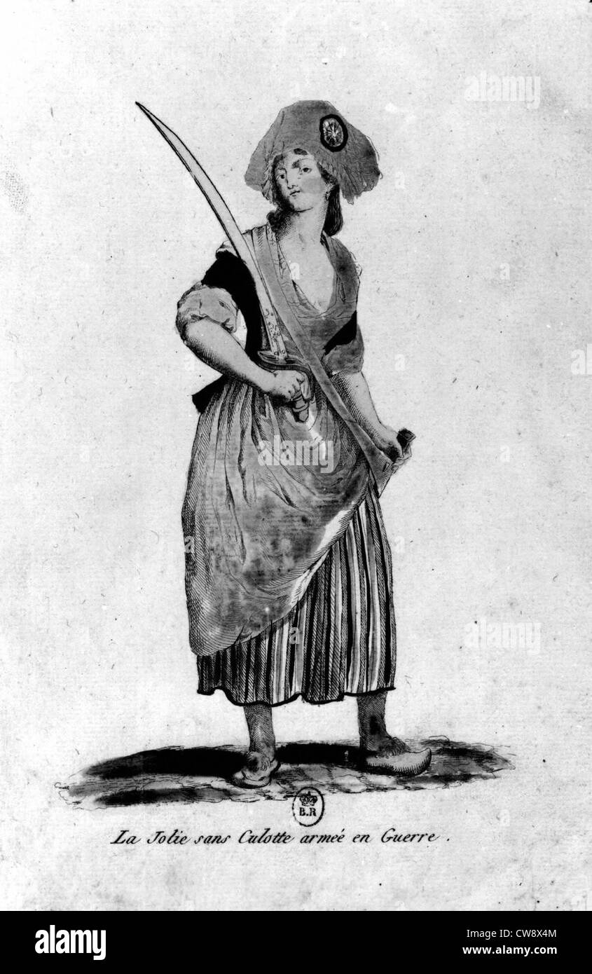 The pretty 'sans culotte' armed in war - Stock Image