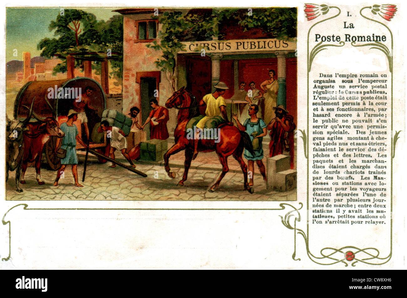Organization postal service under Emperor Augustus - Stock Image