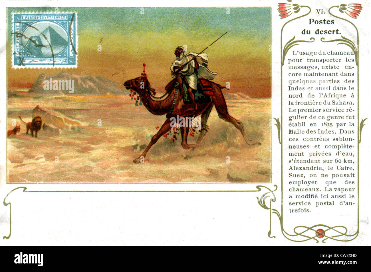 The desert postal service in the 19th century Stock Photo