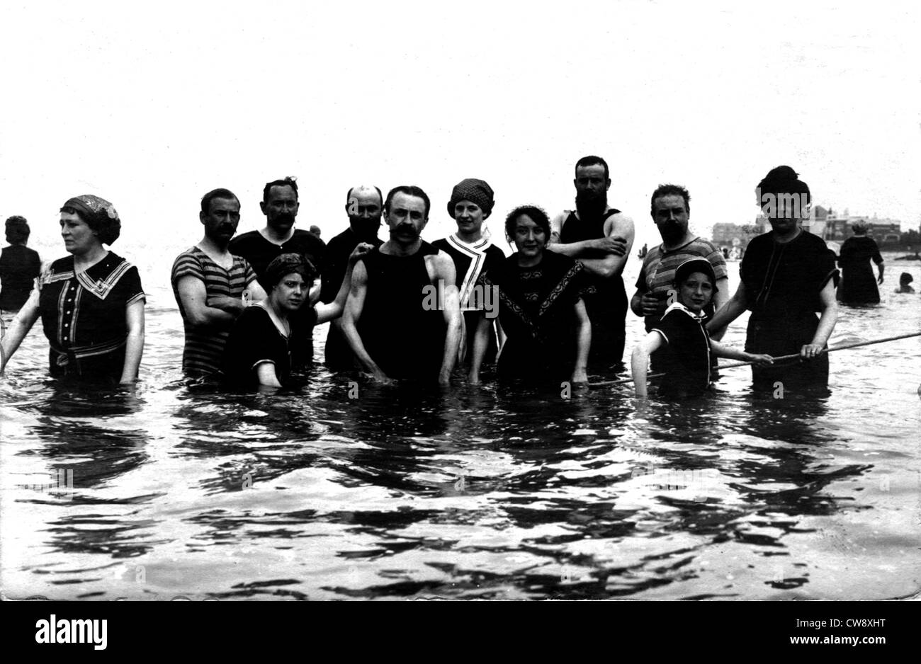 Bathers on the beach at Le Crotoy (Somme) - Stock Image