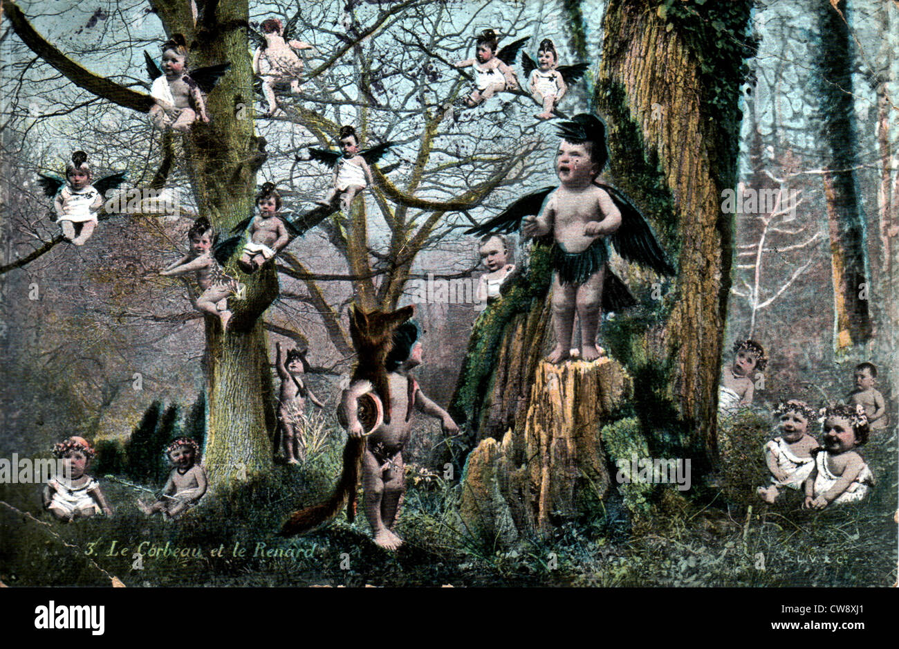 Collage: Fable La Fontaine: crow fox - Stock Image