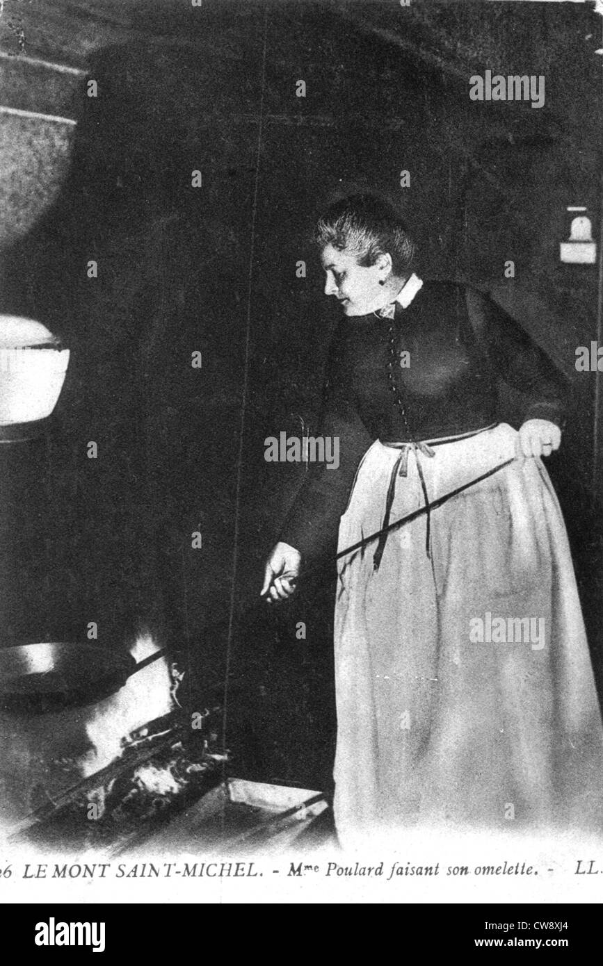 Mont Saint-Michel, Mme Poulard making her omelette - Stock Image