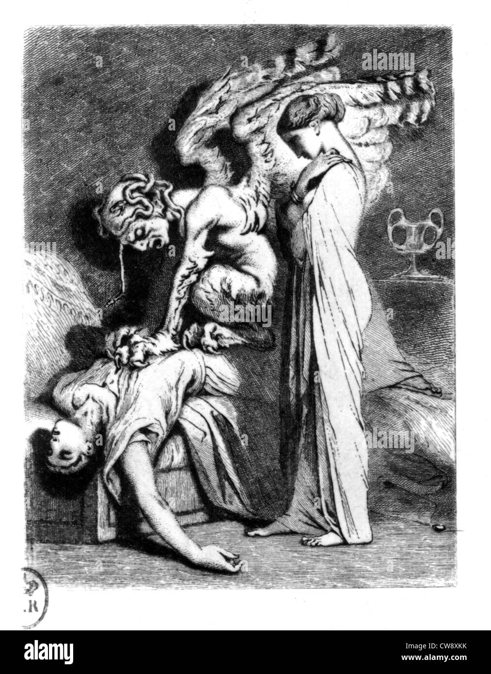Engraving by Johannot, Nodier: Tales - Stock Image