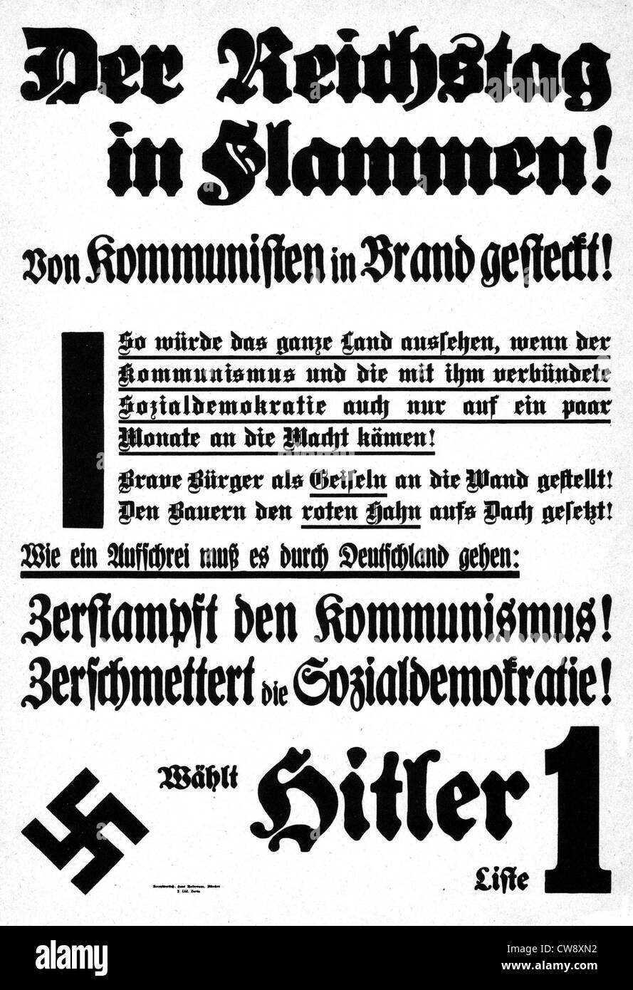 Propaganda poster calling to vote Hitler after burning Reichstag - Stock Image