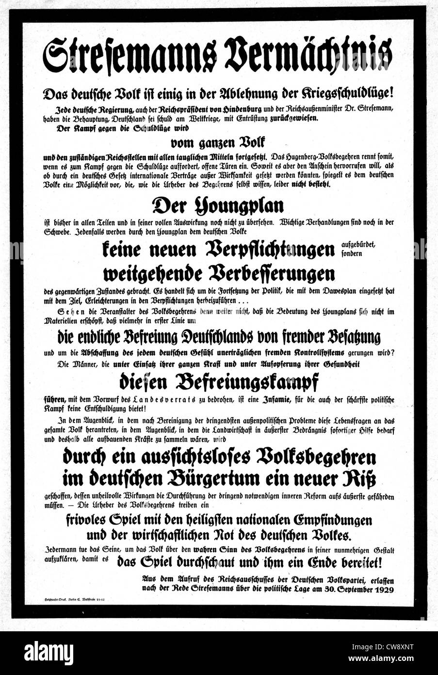 Poster published after the death of Stresemann - Stock Image