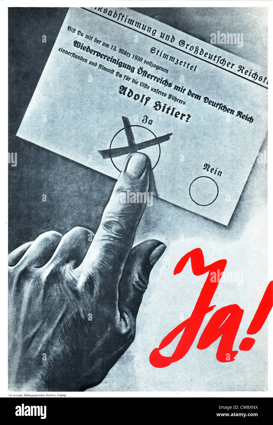 Electoral propaganda poster at time 1939 referendum in Germany Stock Photo