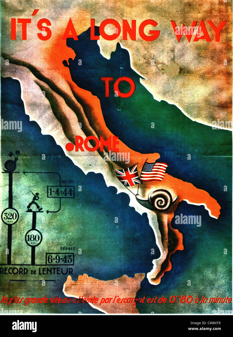 Nazi propaganda poster after allied landing in Italy - Stock Image