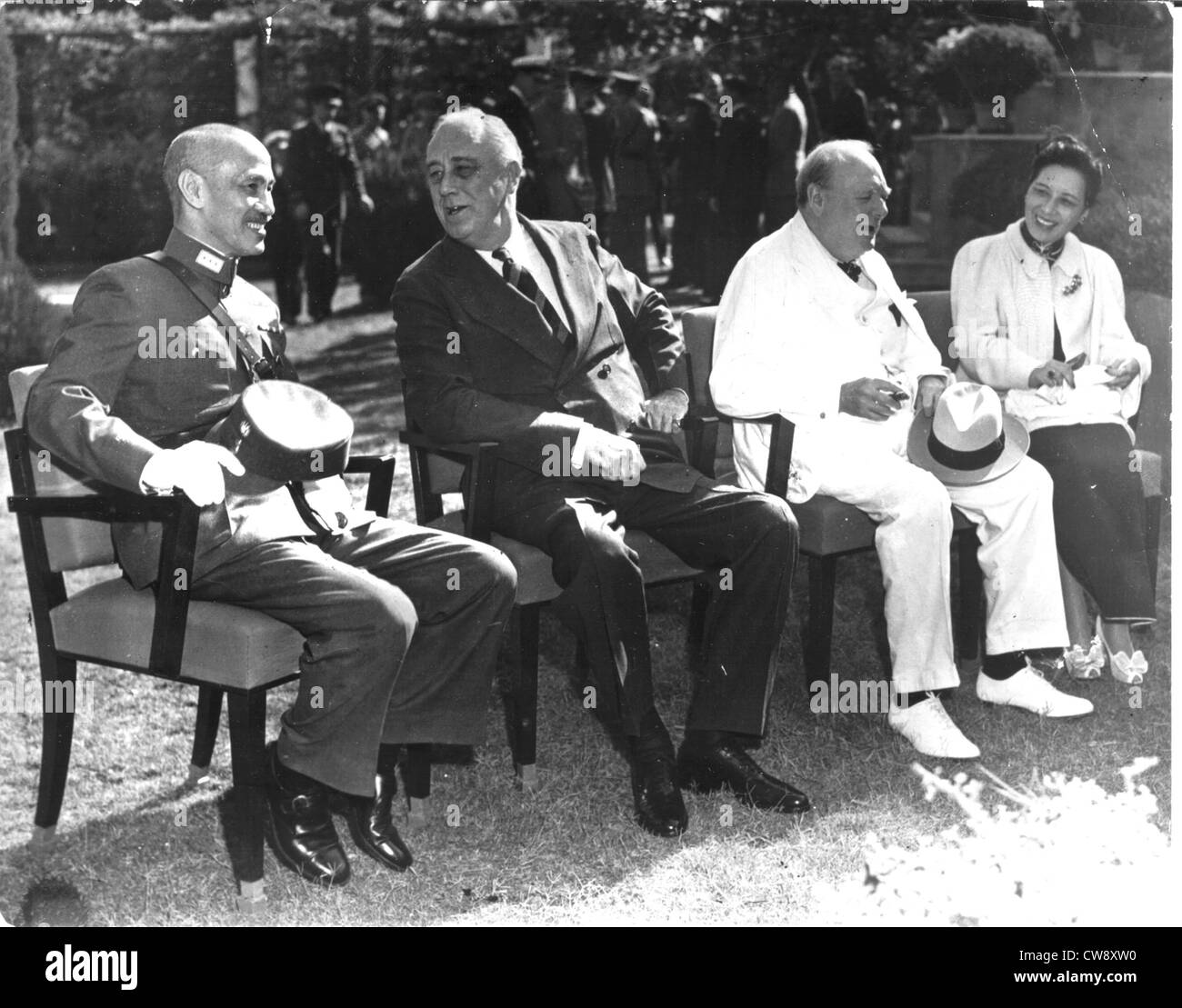 Cairo Conference from left to right: Chiang Kai-Shek Roosevelt Churchill Mrs. Chiang Kai-Shek - Stock Image