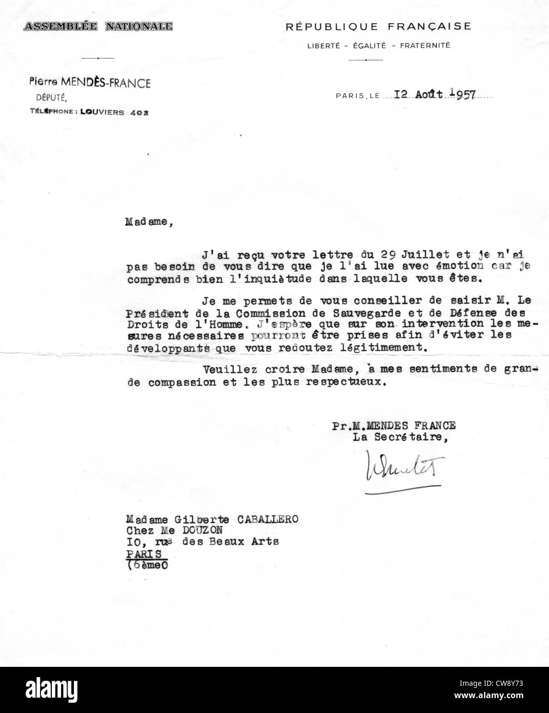 Letter from Mr. Pierre Mendès-France to Mrs. Caballero concerning imprisonment her husband - Stock Image