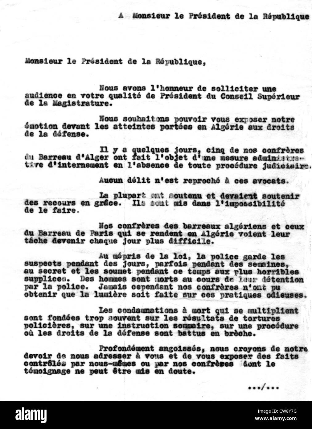 Letter to President French Republic written lawyer Joe Nordmann - Stock Image