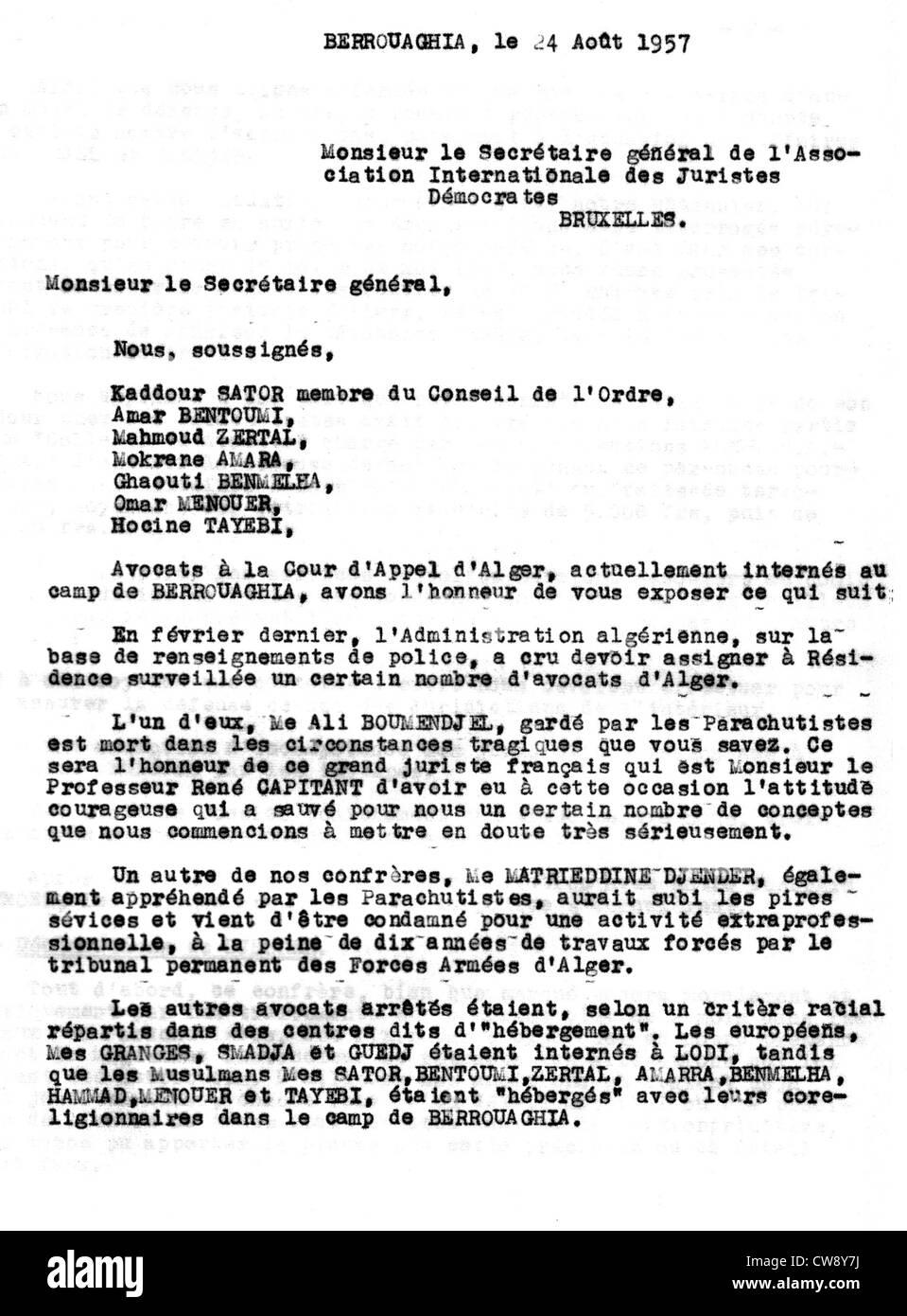 Letter written to International Association Democratic Jurists imprisoned Algerian lawyers - Stock Image
