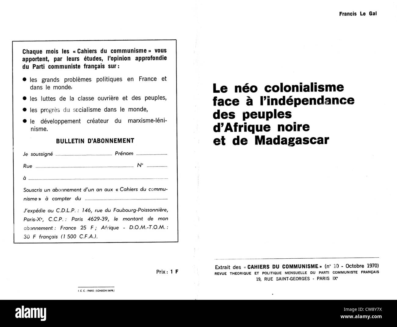 Magazine French Communist Party. 'Neo- colonialism in face independence people Black Africa Madagascar' - Stock Image