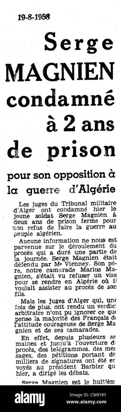 Article in newspaper l'Humanité concerning Serge Magnien draft resister - Stock Image