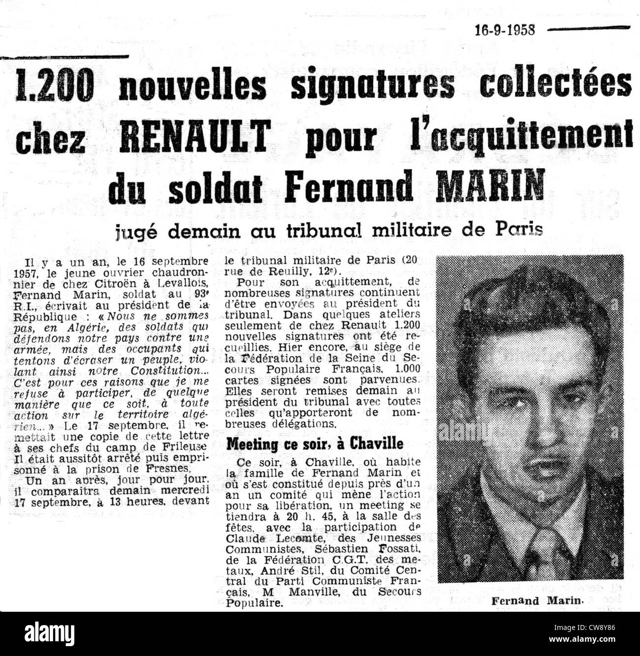 Article in newspaper 'L'Humanité' concerning Fernand Marin draft resister - Stock Image