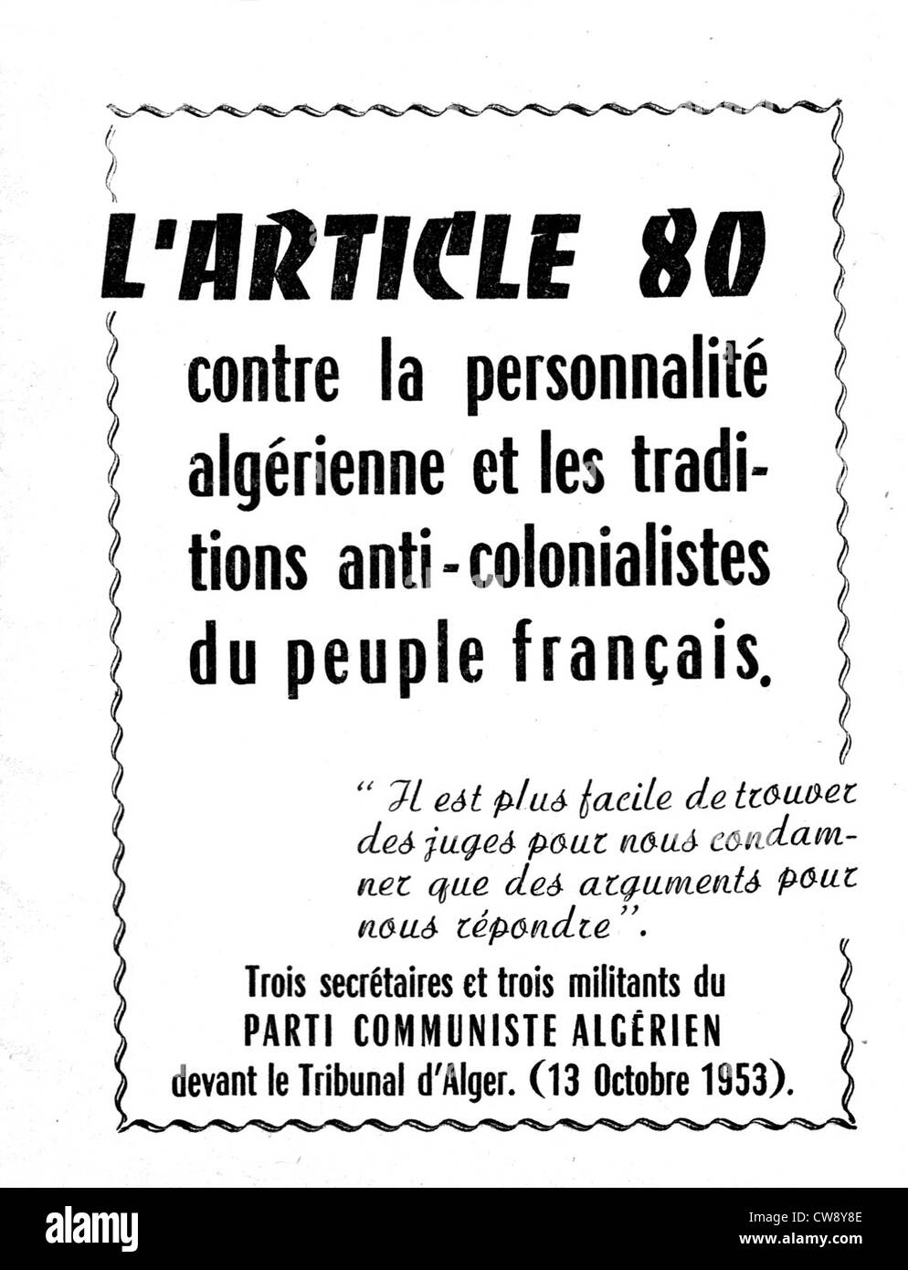 Leaflet published by the Algerian Communist Party - Stock Image