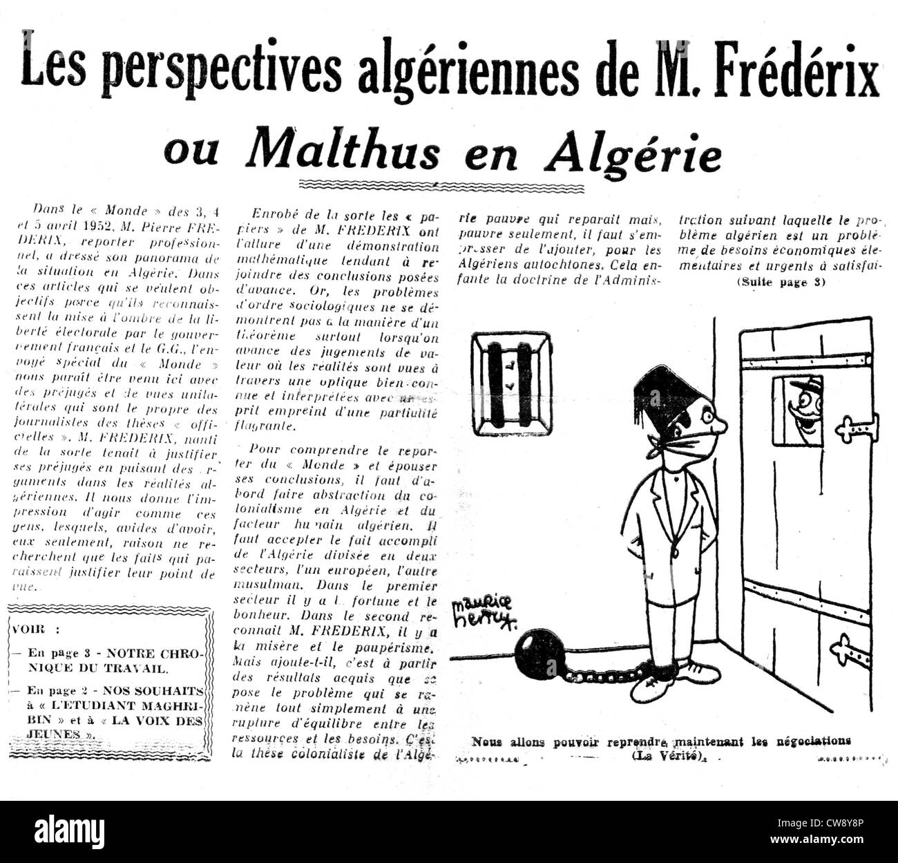 Caricature on situation in Algeria published in newspaper 'L'Algérie libre' - Stock Image