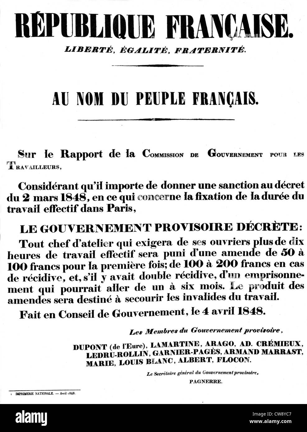 Decree on working hours in Paris signed Provisional Government - Stock Image