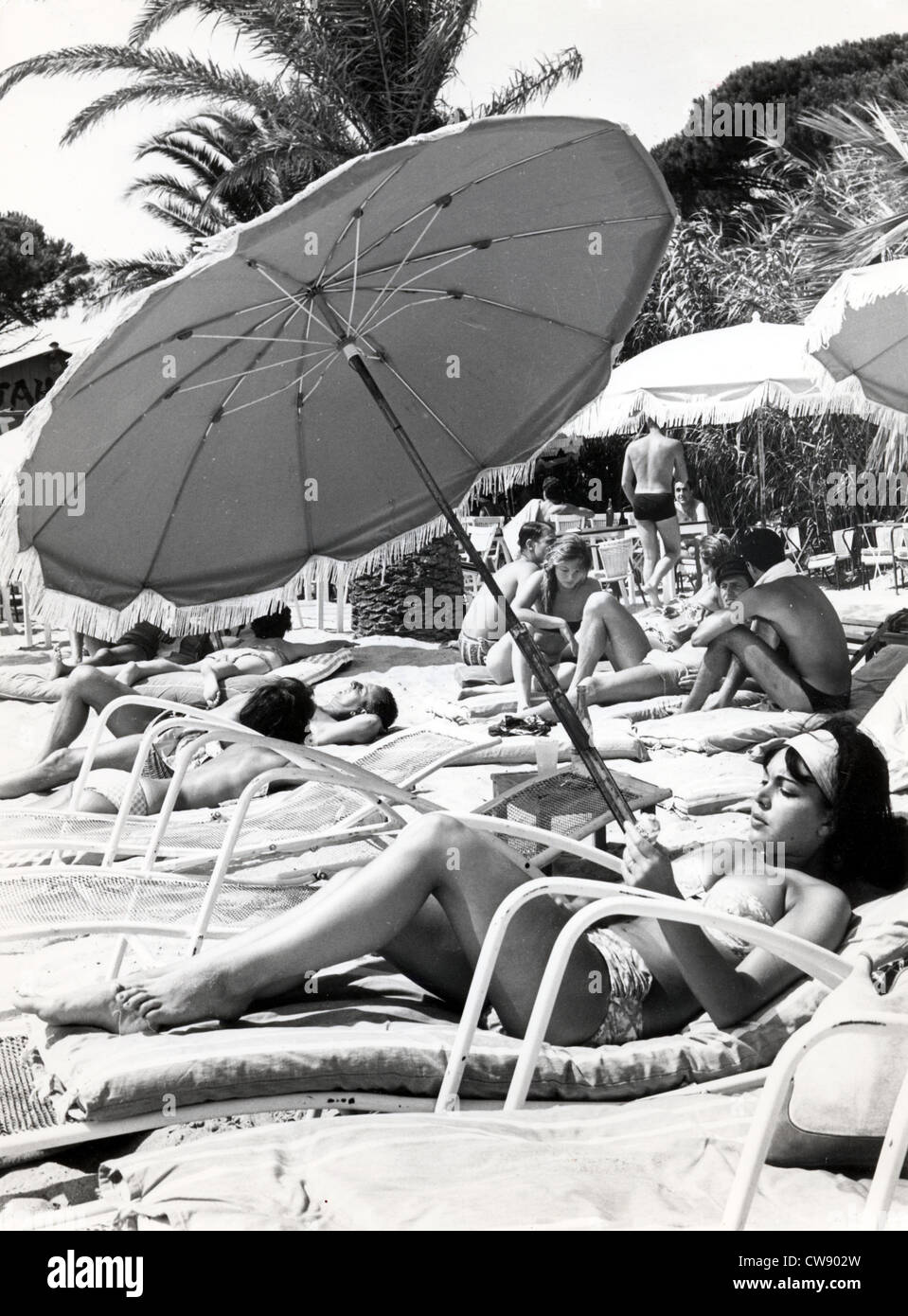 Sunbathing in the '60s - Stock Image