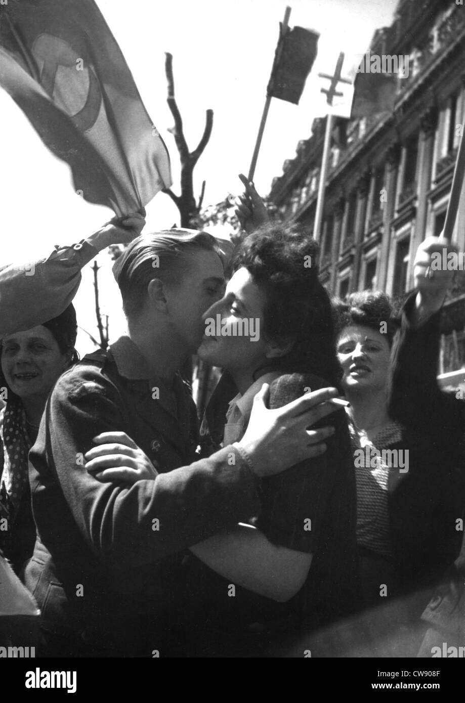 Communists resistants members F.F.I. at the Liberation Paris (August 1944) - Stock Image