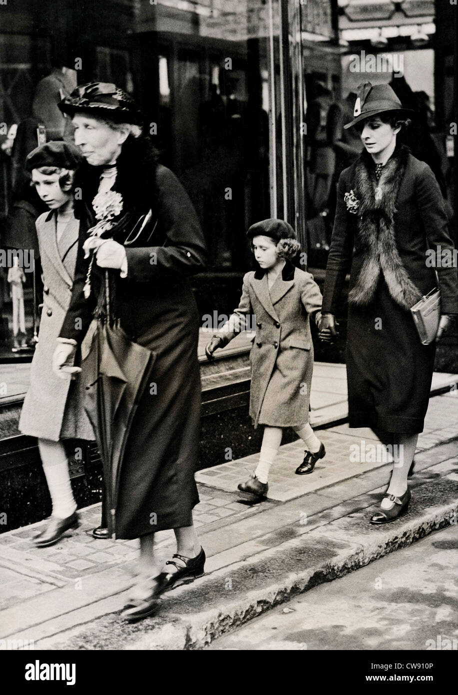 British princesses had their first ride on 'Tube' 1939 - Stock Image