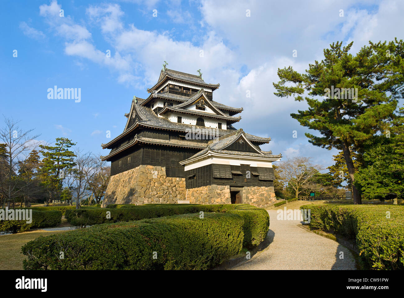 Matsue Castle, Shimane Prefecture, Japan. Medieval Castle made of wood, c. 1622. - Stock Image