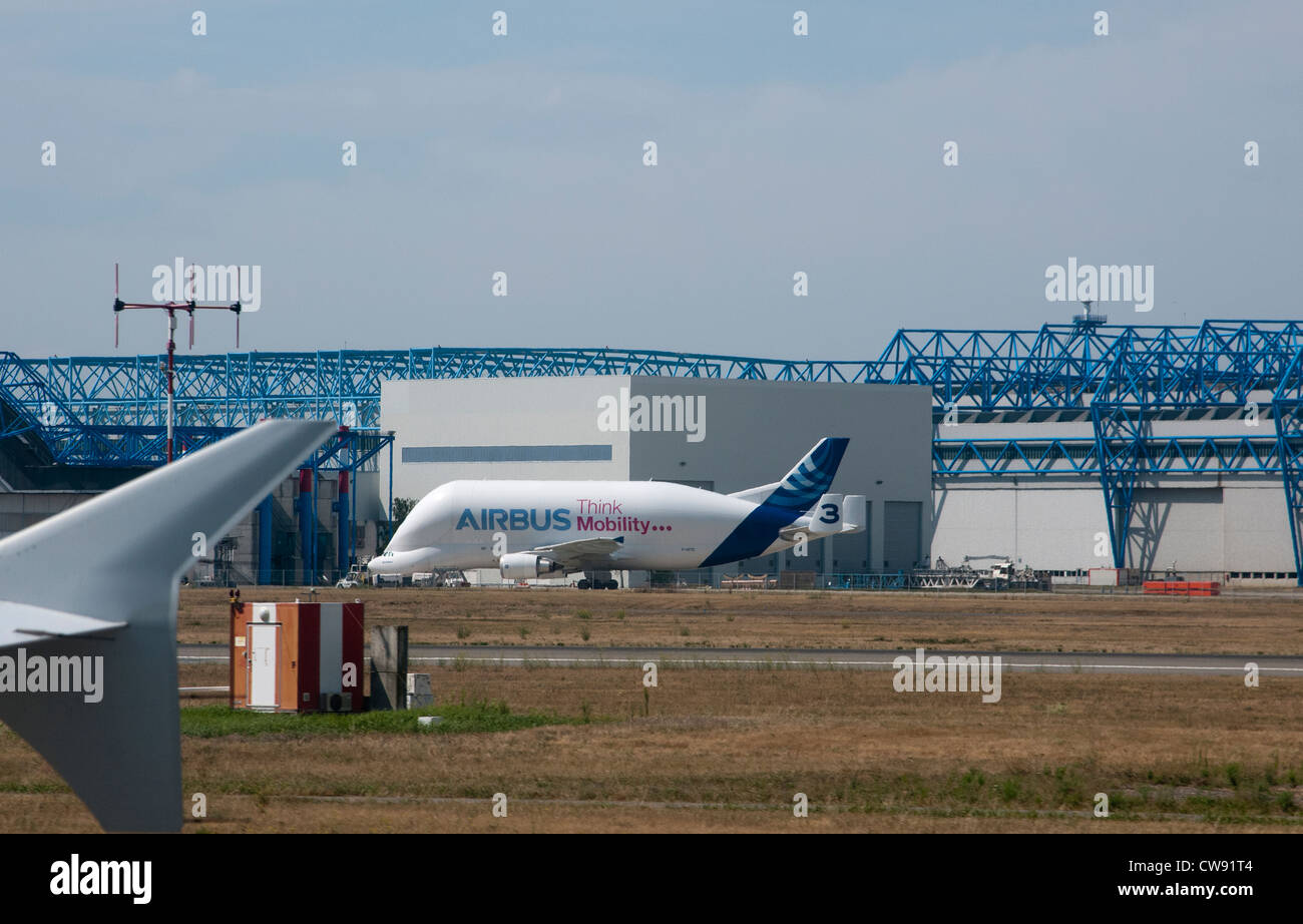 Airbus Industrie HQ in Toulouse France An Airbus A300 Super Transporter aircraft is parked on the apron - Stock Image