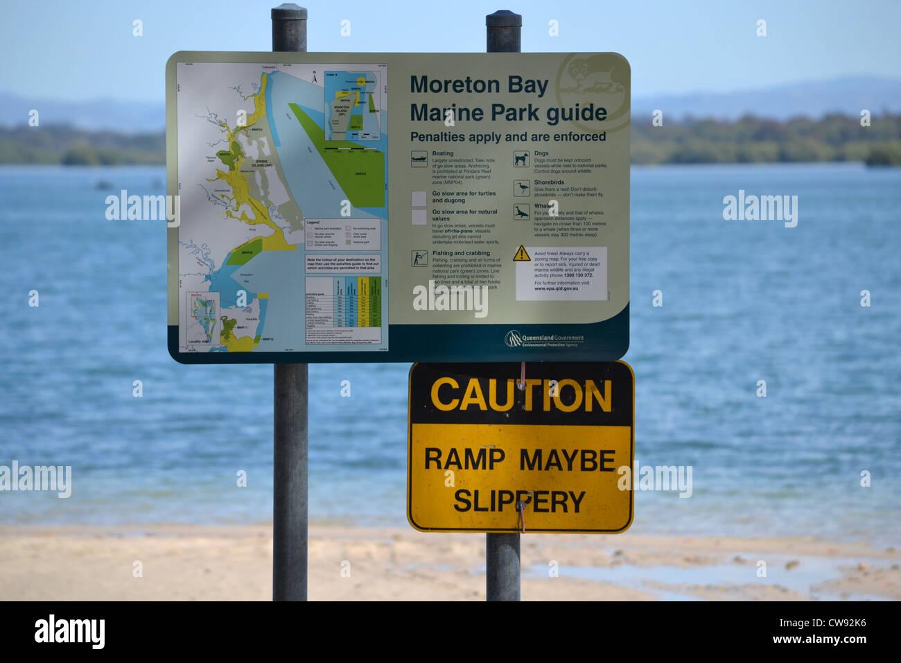 Boat ramp signs at Banksia Beach, Bribie Island, Queensland, Australia - Stock Image