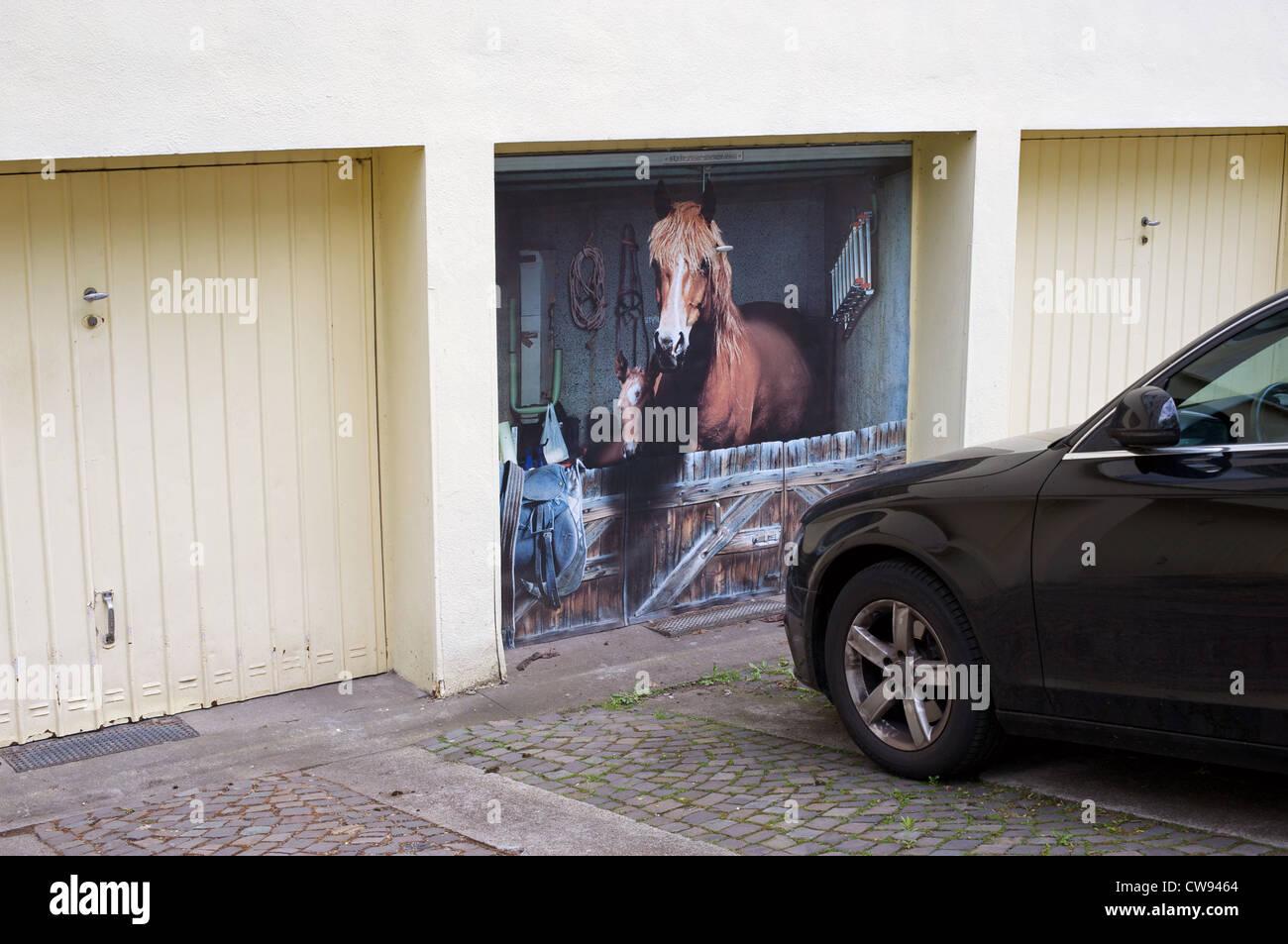 Painted Garage Door German Germany Stock Photos Painted Garage