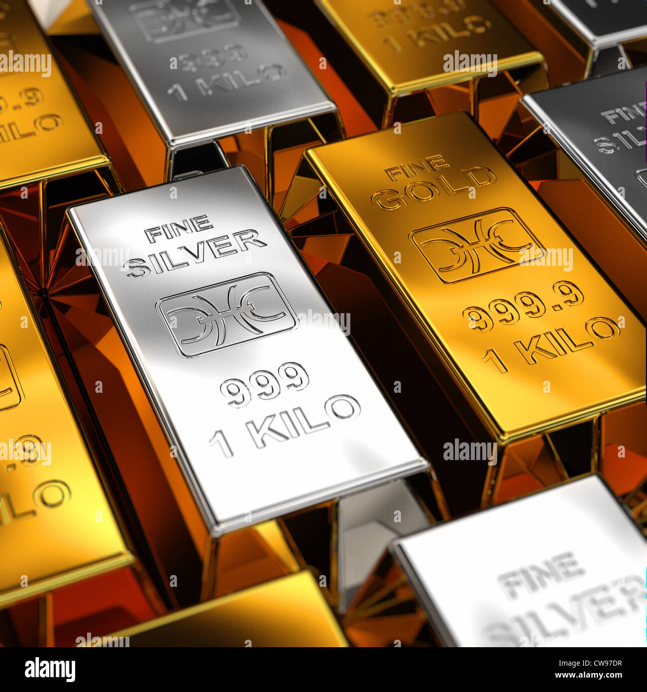 Gold and Silver Bars - Stock Image